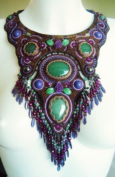 Bead embroidery necklace 22 by Priscillascreations.deviantart.com on @DeviantArt