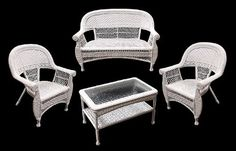 4-Piece White Resin Wicker Outdoor Patio Set - Table, Loveseat and Chairs by Gerson, http://www.amazon.com/dp/B0079JXC3W/ref=cm_sw_r_pi_dp_tTw8qb1NV3YS3