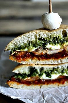 Grilled Chicken Melt with Pesto and Sun Dried Tomato Spread from foodiewithfamily.com