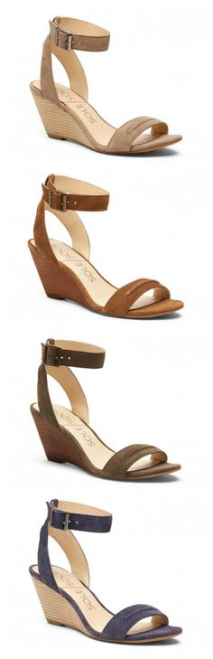 """Luxurious suede wedge sandals with comfortable 2.5"""" heels. Perfect for all your warm-weather looks!"""