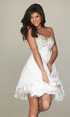 A-Line Sweetheart White Chiffon Homecoming Dress, so perfect for rehearsal dinner!!