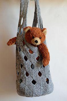 Knitting pattern for Net Duffle Bag