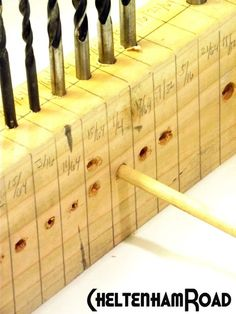 Tutorial: Drill Bit Storage and Gauge - Easily find the bit of the right size for the screw/dowel/nail etc…………………………… - Workshop Storage, Workshop Organization, Garage Organization, Garage Storage, Tool Storage, Workshop Ideas, Lumber Storage, Garage Workshop, Garage Tools