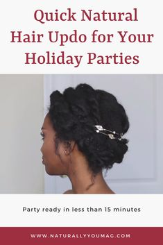 If you need a quick natural hair updo for your upcoming holiday party, YouTuber Zoe Allamby has you covered! Flat twist updo for natural hair with hair jewelry. #teamnatural #naturalhaircommunity #naturalhairstyles #naturalhairmag #naturalhairupdo #longnaturalhair