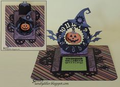 Sandy Diller using the Pop it Ups Hanging Charm Pull Tab, Clock & Gears and Halloween collection by Karen Burniston for Elizabeth Craft Designs.