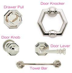 """Nest Studio Octagonal Pull  Nanz Hexagonal Door Knocker  Omni 201/55 Door Knob  Omni 101/00 Door Lever  Vicenza Hardware Carducci 18"""" Towel Bar"""