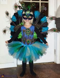 Sarah: My year old daughter Azrael decided she wanted to be a peacock so we bought the mask and wings then glued several extra peacock feathers on them to make. Halloween Costumes 2014, Homemade Halloween Costumes, Cute Costumes, Girl Costumes, Halloween Kids, Costume Ideas, Happy Halloween, Peacock Halloween, Peacock Costume