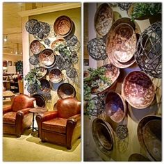 This design wall is a mixture of Tibetan metal bowls and hand-crafted metal spheres combined to create a stunning textural display.