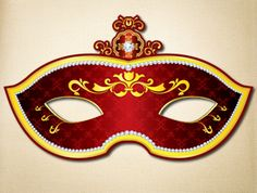Red and Gold Masquerade Mask | The Printable Mask Shop