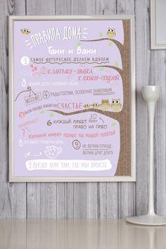 Постер в рамке с Вашим текстом и фото Правила дома | Шурмишур