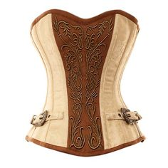 BOX 11: VG-107 Ivory Brocade Pattern with Bronze Panel and Gold Detailing Corset-22'' Corset - (for 26-27'' waist)