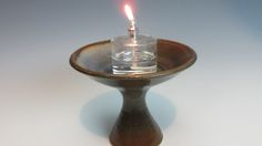 Table Chalice - UU - Brown with Light Blue Crescent