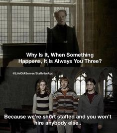 Why Is It, When Somet ing prpens, It Is Always YonÍThree? Because w 're short staffed and you won't - iFunny :) Harry Potter Jokes, Harry Potter Fandom, Work Memes, Work Humor, Work Quotes, Funny Quotes, Funny Memes, Hilarious, Cartoon Memes