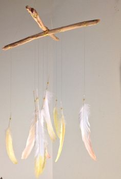 Handmade dip-dyed feather baby mobile, eye candy for the hippie chic baby and mom