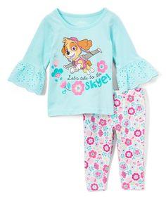 6723fd2f8453c PAW Patrol Blue & Pink 'To the Skye' Top & Capri Leggings Set - Toddler &  Girls