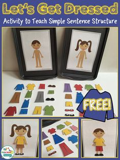 """These fun dress up games are intended to help studentswho are beginning to combine two words together in phrases such as """"shoes on"""" or for older childrenwho need practice in naming clothing vocabulary. The file contains 30 everyday clothing options, so pick your favoriteoutfit and Let's Get Dressed! This download includes: 1 x girl baseboard …"""