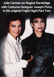 Costume Designer, Joseph Porro with Julie Carmen as Regine Dandrige in the original Fright Night Part 2. Wearing hand glued peacock feather 1940's suit and chapeau.