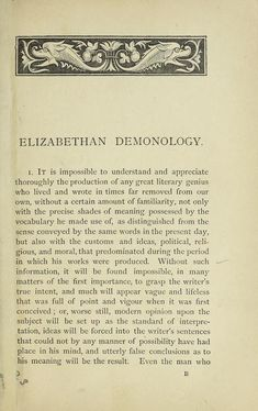 Elizabethan demonology; an essay in illustratio...