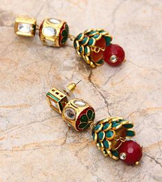 Red And Green Embellished Earrings