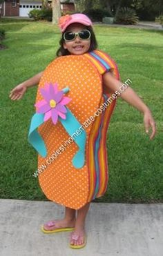 Homemade Florida Flip Flop Halloween Costume Idea: This is my daughter wearing the Coolest Florida Flip Flop Costume.  We live in Florida so when she asked to be a flip flop for Halloween it was no surprise.