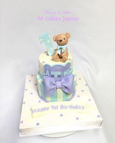 初めてのお誕生日ケーキ #はじめての #誕生日 #おめでとう #男の子 #クマちゃん #ベビーカラー #パステル #1歳 #1stbirthday #bear #babycolor #pastel #boy #cake #fondantcake #fondantbear