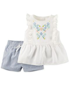 Carter's Baby Girls' 2-Piece Flutter-Sleeve Top & Shorts Set