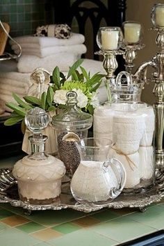 Country Home Decor Repurposed decanters pitchers silver tray and candle stand.Country Home Decor Repurposed decanters pitchers silver tray and candle stand. Bathroom Vanity Tray, Bathroom Spa, Rental Bathroom, Modern Bathroom, Small Bathroom, Bathroom Cabinets, Elegant Bathroom Decor, Bathroom Interior, Bathrooms Decor