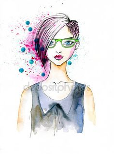 People Stock Images , People Pictures , person photo , - Watercolor Portrait of Hipster Girl