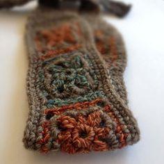Crochet Wool Headband Gray, Rust, Teal Boho Chic Hairband.