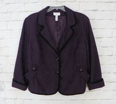 Womens Plus COVINGTON Purple Floral Brocade Black Trim Lined Blazer Size 24W #Covington #Blazer