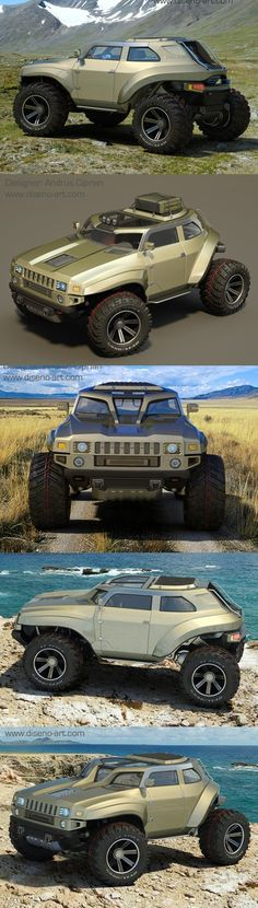 ♂ The latest creation of Romanian designer Andrus Ciprian is the HUMMER HB, an extreme off-road vehicle with almost no front or rear overhangs, and massive wheels and tires for tackling almost any surface