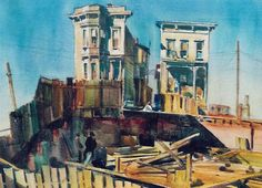 A Repository of Paintings - Emil Kosa Jr. France Train, Bunker Hill Los Angeles, American Realism, Realistic Oil Painting, Hotel California, Water Art, Watercolor Paintings, Watercolors, Architecture