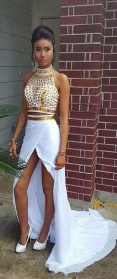 Gorgeous & Sexy Prom Dress! You'll look special in this crystal rhinestone dress. This is a sumptuous white and gold mermaid prom dress or evening dress. See this awesome gown with rhinestones here http://www.cutedresses.co/product/white-gold-prom-dress-rhinestones