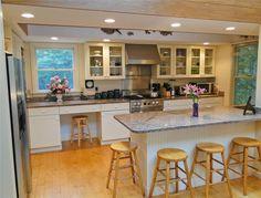 Beautiful modern kitchen. Love the hardwood floors