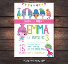 Trolls Birthday Party Trolls Birthday Invitation by PrinterFairy