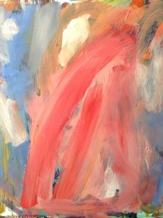 ABSTRACT EXPRESSIONIST oil painting titled Sharks. 24x28 on wood, pink, blue, orange,peach original art on Etsy, $230.00