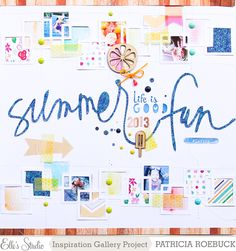 Summer Fun | Elle's Studio - Scrapbook.com - Use tiny prints and bits of patterned paper behind die cut squares for a fun border.
