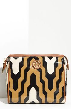 Tory Burch 'Cindie' Coated Cotton Cosmetic Case