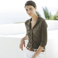 The White Company US. Jersey Shirt - Khaki   Made from our top-quality cotton jersey, with a ribbed panel on each side, this bestselling design has a wonderfully flattering fit and will wash and wear beautifully every time. We love the new khaki shade, too. Pinning from the UK? -> http://www.thewhitecompany.com/clothing/tops/shirts-and-blouses/jersey-shirt--khaki/