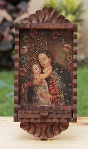 Madonna Child Jesus Folk Art Santos Wood Retablo Exvoto Original 85 Oil Painting | eBay