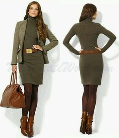 Perfect for my coloring :) warm, fall, winter, sweater dress, blazer, belt, boots