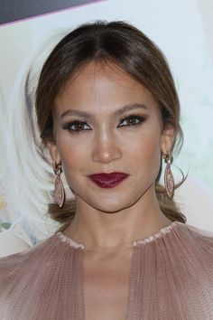 Jennifer #Lopez- vampy lips and beautiful nude pleated Maria Lucia Hohan dress. So bold yet elegant.
