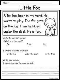 Beginning Reading Worksheets 2nd Grade Worksheets, English Worksheets For Kids, Free Kindergarten Worksheets, Free Printable Worksheets, In Kindergarten, Worksheet For Class 2, Writing Worksheets, Reading Comprehension Worksheets, Reading Fluency