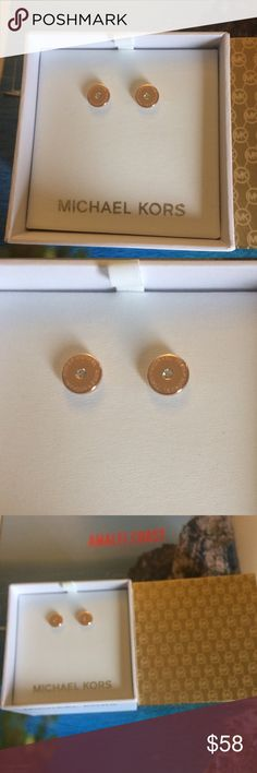 Michael Kors Rose Gold Logo Earrings MK rose gold tone crystal  studs. Michael Kors Jewelry Earrings