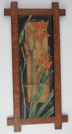 tile carol long pottery 3 piece tile wood framed lillies 47500 tile grouping ready