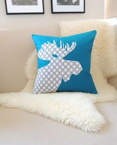 Moose Pillow Cover Teal Glacier Green White & by VixenGoods. Dark Teal, Teal Green, Moose Head, White Charcoal, Woodland Decor, Boy Room, Antlers, Modern Decor, Applique