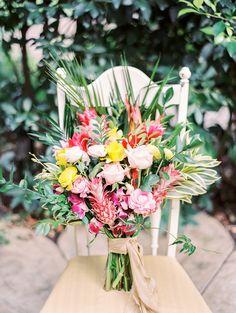 tropical inspired bouquet - photo by Angelica Chang Photography http://ruffledblog.com/hawaiian-garden-wedding-inspiration