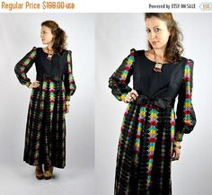 30% OFF SALE 70s Maxi Dress EMBROIDERED Dress Mexican Dress