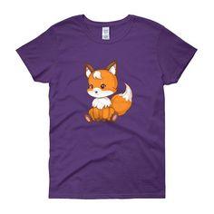 Cute sitting fox Woman T-Shirt Neck T Shirt, Fox, T Shirts For Women, Woman, Classic, Cute, Kawaii, Classical Music, Foxes