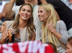 Ann Kathrin (girlfriend of Mario Götze) and Nina Weiss (girlfriend of Manuel Neuer) in FC Bayern München game